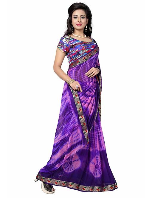 Purple Nazneen Shibori Sarees With Ready made Blouse