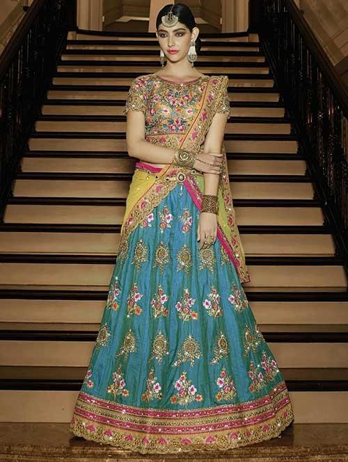 Rama Colored 2 Tone Beautiful Heavy Embroidered Sahi Silk Lehenga Choli