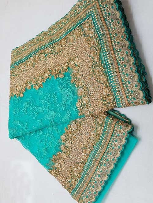 Rama Colored Beautiful Embroidered Net Saree With Dimond work and Pearl work