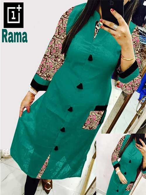Rama Colored Beautiful Kalamkari Printed Straight Slub Cotton Kurti.