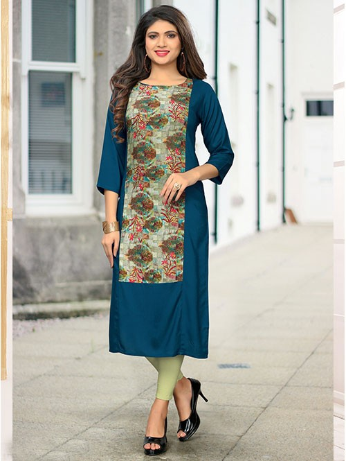 Rama Colored Beautiful Printed Straight Rayon Kurti