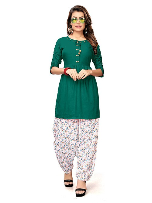 Rama Colored Beautiful Rayon Kurti With Printed Patiala