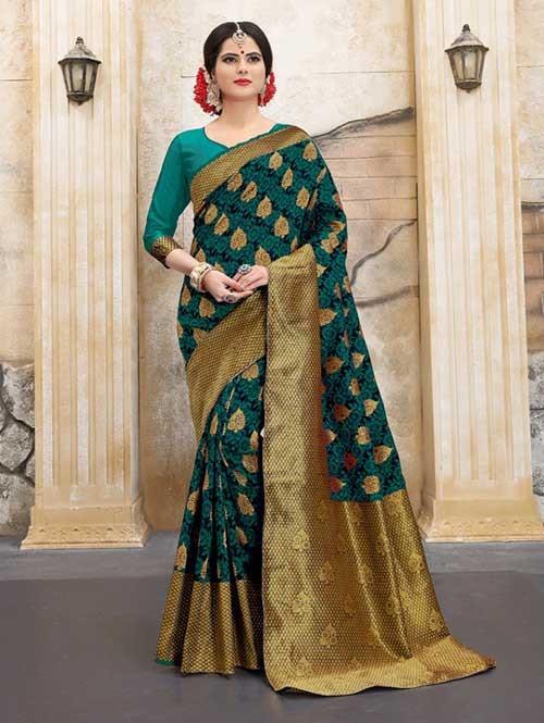 Rama Colored Beautiful Soft Banarasi Silk Fancy Saree Online