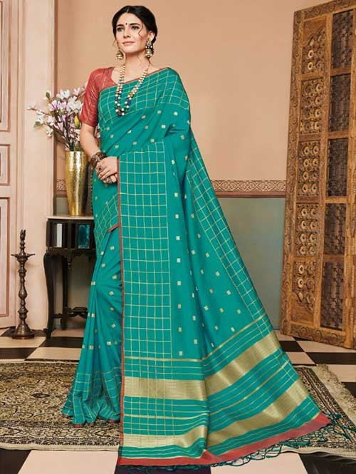 Rama Colored Beautiful Soft Silk Fancy Saree Online - Mishika