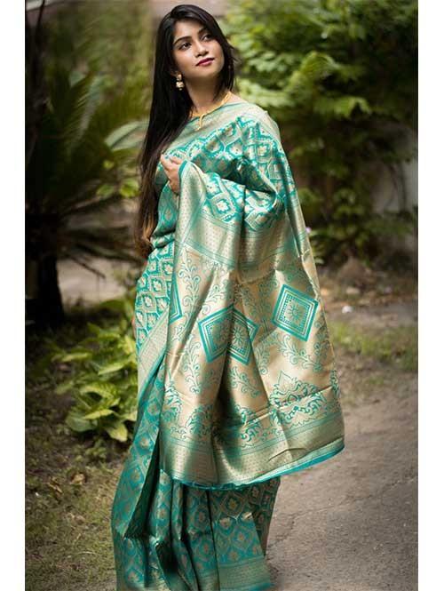 Rama Colored Beautiful Soft Silk Traditional Zari Weaving Saree