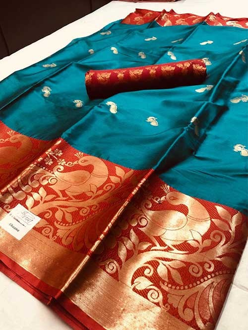Rama Colored Cotton Silk Saree - Ahaana