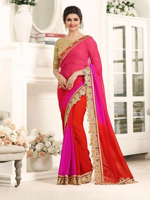 Rani Color Georgeous Chiffon Saree with Blouse
