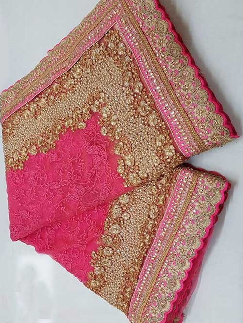 Rani Colored Beautiful Embroidered Net Saree With Dimond work and Pearl work