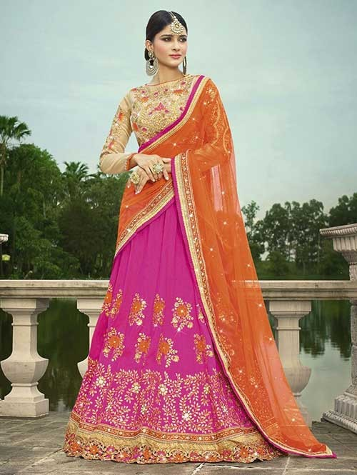 Rani Colored Beautiful Heavy Embroidered Melbourne Silk Lehenga Choli