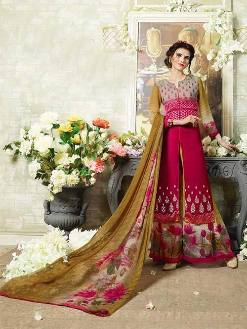 Rani Colored Designer Suit With Beautiful Plazzo.