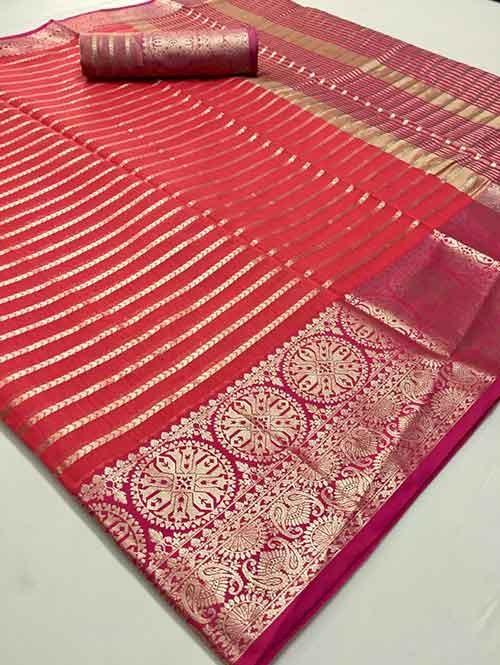 Rani Colored Soft Cotton Weaving Designer Saree - New Saree Desig