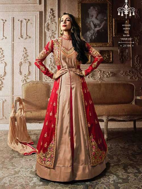 Red and Beige Colored Embroidered Heavy Sequence Badla Work and Zari Worked Lehenga Suit.