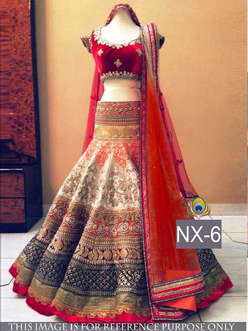 Red and Beige Colored Gorgeous Banarasi Lehenga With Fancy Velvet Choli.