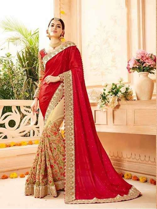 Red and Beige Colored Heavy Embroidered Beautiful Georgette and Net Saree