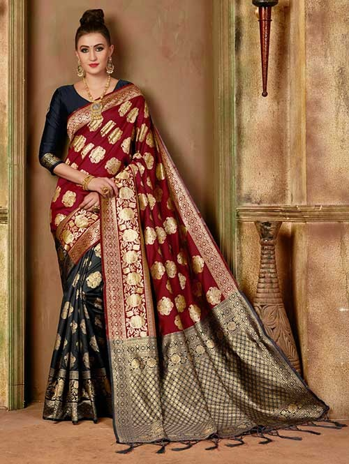 Red and Black colored Beautiful Banarasi Silk Saree