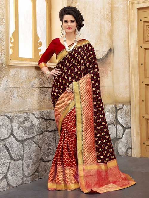 Red and Black Colored Beautiful Soft Banarasi Silk Fancy Saree Online