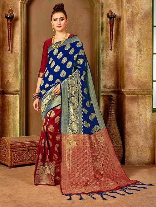 Red and Blue colored Beautiful Banarasi Silk Saree