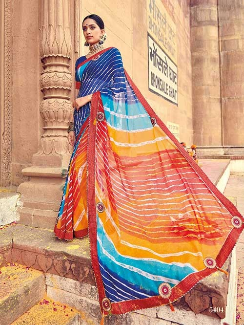 Red and Blue Colored Beautiful Embroidered Georgette Leheriyaa Pattern Printed Saree