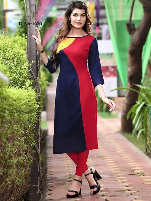 Red And Blue Colored Beautiful Rayon Printed Kurti