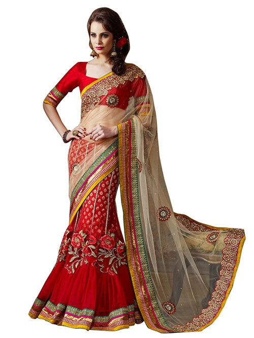 Red and Cream Colored Beautiful Embroidered Net Lehenga Saree With Stone Work