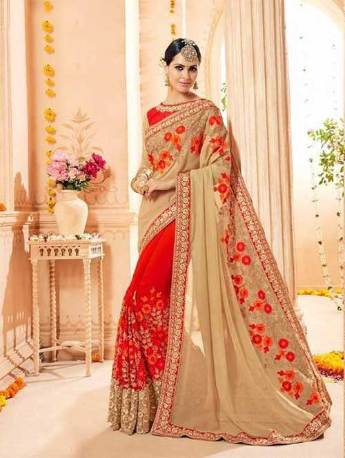 Red and Cream Colored Heavy Embroidered Beautiful Georgette and Net Saree