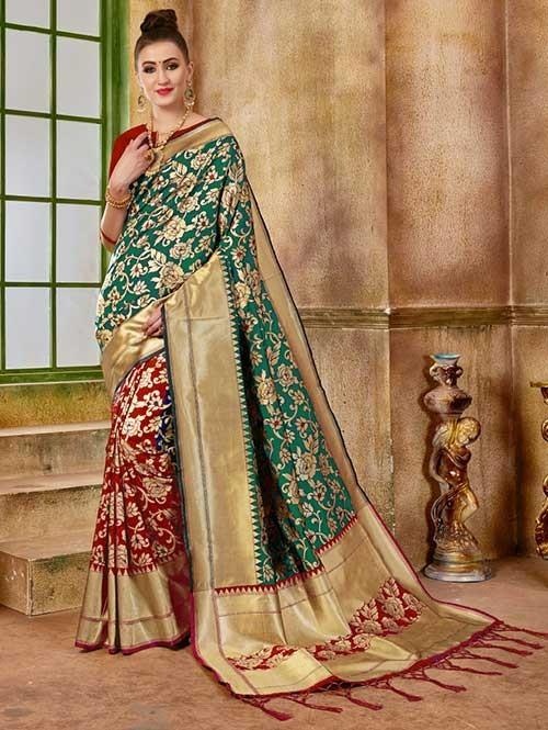 Red and Green colored Beautiful Banarasi Silk Saree