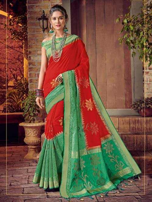Red and Green Colored Beautiful Hand Dyeing Soft Silk Saree - Rani Jodha