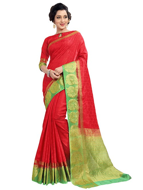 Red and Green Colored Beautiful Jacquard Silk Saree