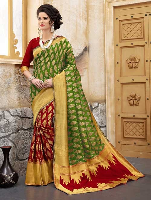 Red and Green Colored Beautiful Soft Banarasi Silk Fancy Saree Online