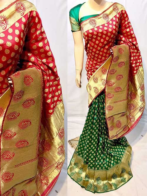 Red and Green Colored New Arrival Banarasi Silk Saree