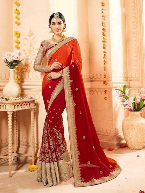 Red and Maroon Colored Heavy Embroidered Beautiful Georgette and Net Saree