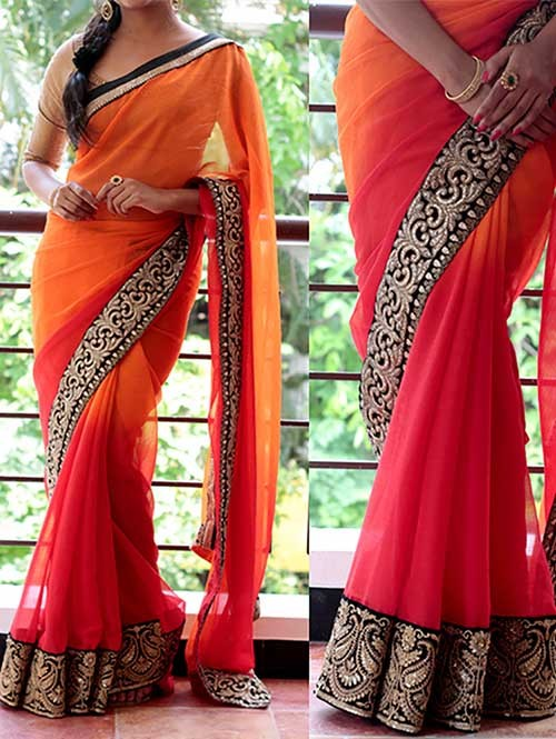 Red and Orange Colored Beautiful Embroidered 60gm Georgette Saree