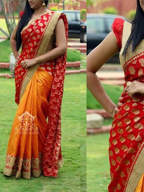 Black and Orange Colored Beautiful Embroidered 60Gm Georgette and Chanderi Silk Saree