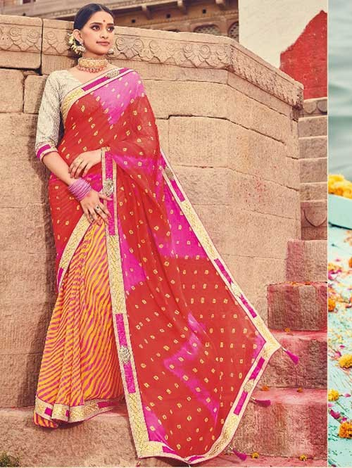 Red and Orange Colored Beautiful Embroidered Georgette Leheriyaa Pattern Printed Saree