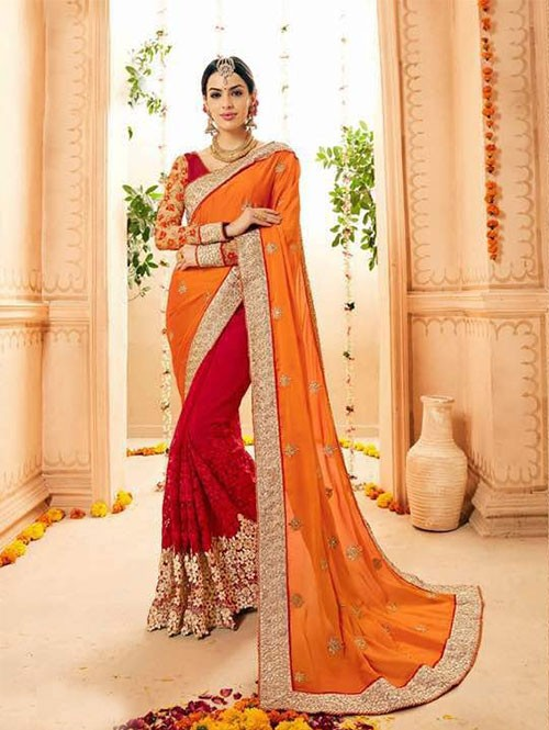 Red and Orange Colored Heavy Embroidered Beautiful Georgette and Net Saree