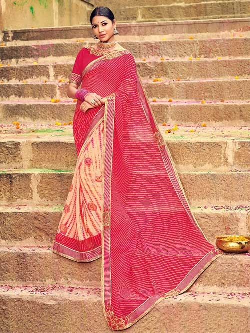 Red and Peach Colored Beautiful Embroidered Georgette Leheriyaa Pattern Printed Saree