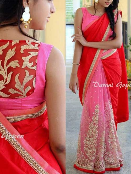 Red and Pink Colored Beautiful Embroidered 60gm Georgette Saree
