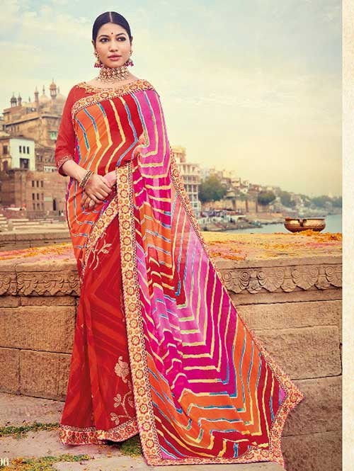 Red and Pink Colored Beautiful Embroidered Georgette Leheriyaa Pattern Printed Saree