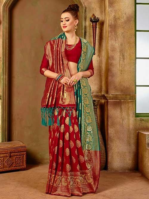 Red and Rama colored Beautiful Banarasi Silk Saree