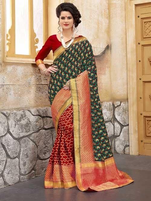 Red and Rama Colored Beautiful Soft Banarasi Silk Fancy Saree Online