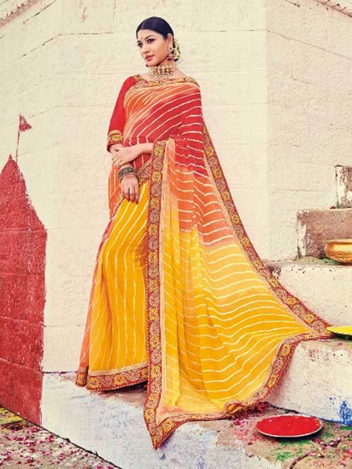 Red and Yellow Colored Beautiful Embroidered Georgette Leheriyaa Pattern Printed Saree