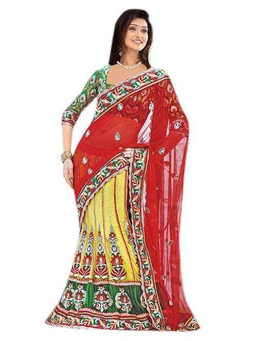Red and Yellow Colored Beautiful Embroidered Net Lehenga Saree