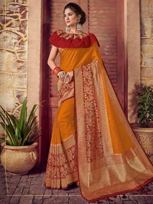 Red and Yellow Colored Beautiful Hand Dyeing Soft Silk Saree - Rani Jodha
