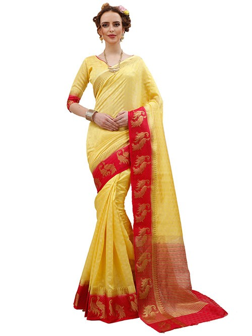 Red and Yellow Colored Beautiful Jacquard Silk Saree