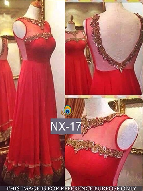 Red Color Beautiful Embroidered Net Gown