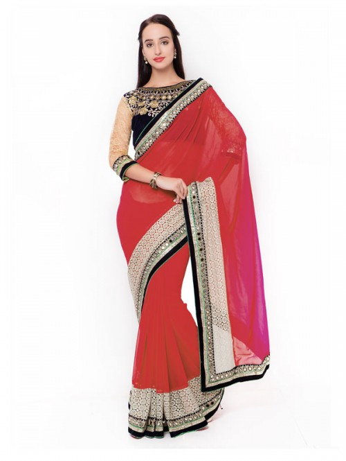 Red Color Beautiful Georgette Saree with velvet embroidered Blouse