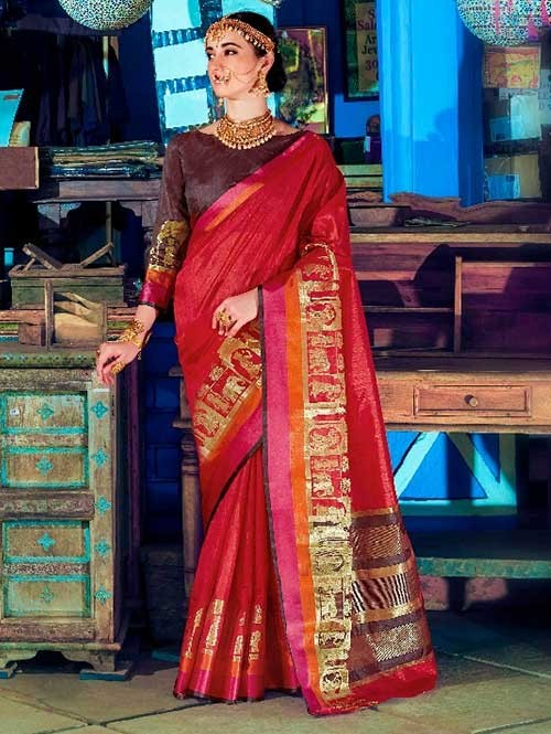 Red Color Beautiful Handloom Waving Silk Saree