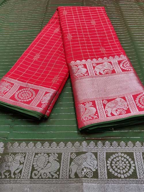 Red Color Beautiful Silk Saree With Zari Weaving Border - Nakshatra