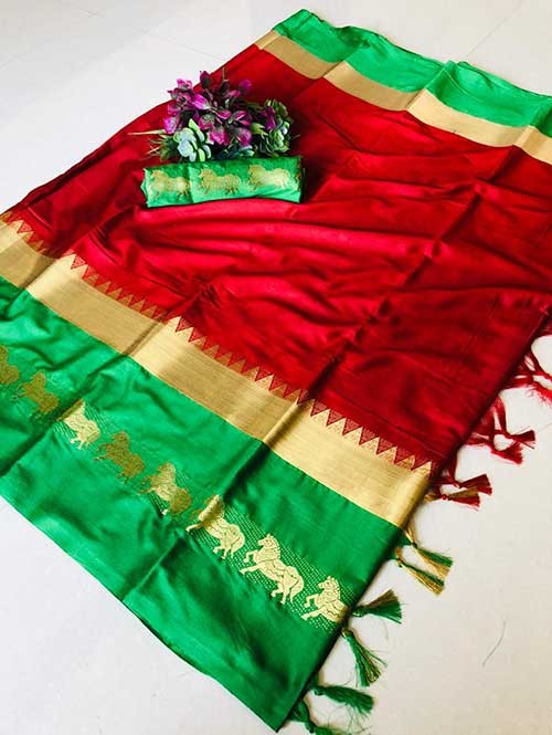 Red Color Beautiful Weaving Cotton Silk Saree - Horse Ride