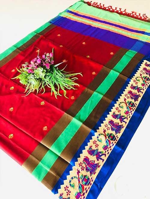 Red Color Beautiful Weaving Cotton Silk Saree - Jaisalmer